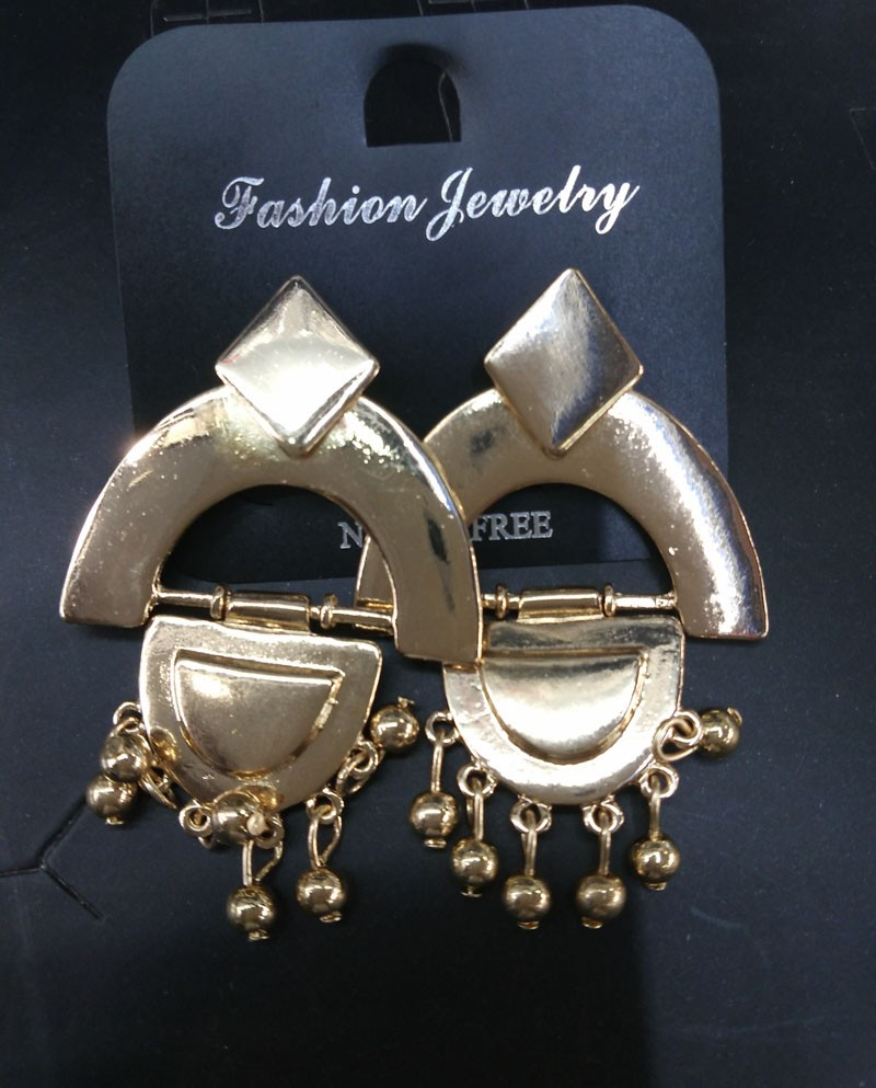 N2015101603 gold silver punk za latest metal earrings for women top quality gift(China (Mainland))