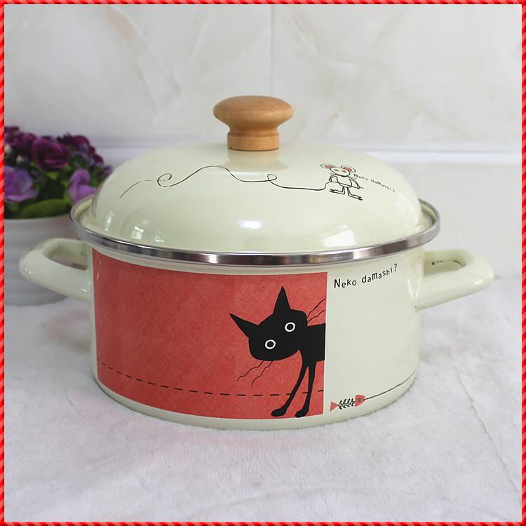 Cartoon 20CM ears milk pot / /enamel pot / induction cooker can cook the medicine bottle(China (Mainland))