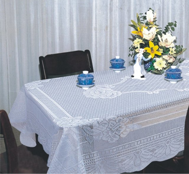 White scroll lace vinyl tablecloths vintage table linens for Table runners 52 inches