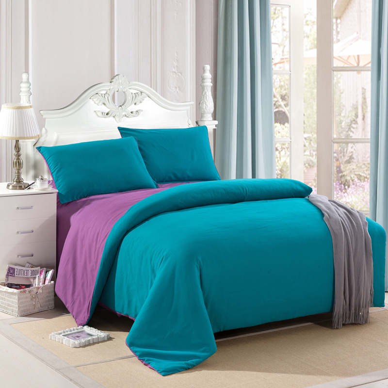 Bedding sets bedclothes falt sheet pillowcase Solid AB side sanding fabric bed set brush twin queen size purple duvet cover set(China (Mainland))