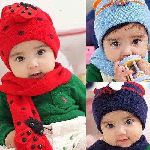 ( Hat Cap + Scarf ) Set Cute Winter Knit Crochet Beanie For Baby Kids Girls Gift(China (Mainland))