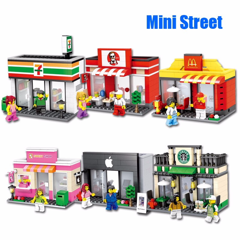Hot sale City Series Mini Street Model Store Shop with Apple Store McDonald`s Building Block Toys Compatible with Lego Hsanhe(China (Mainland))