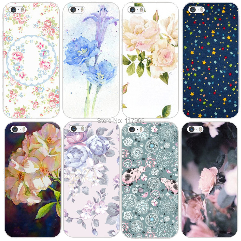 """2015 Hot fantasy Cartoon floral Series sand pictures Flowers back cover case for Iphone 5 5s 5g 4.0"""" Promotion Painted MCA110(China (Mainland))"""