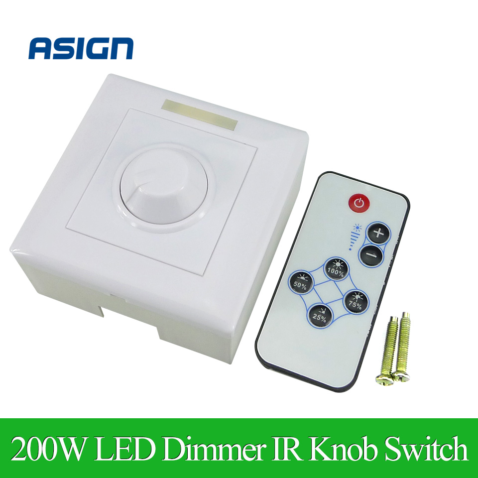 200W White LED Dimmer IR Knob Switch Remote Control Many Units Dimmable LED Strip LED Downlight LED Panel Light Led Bulb(China (Mainland))