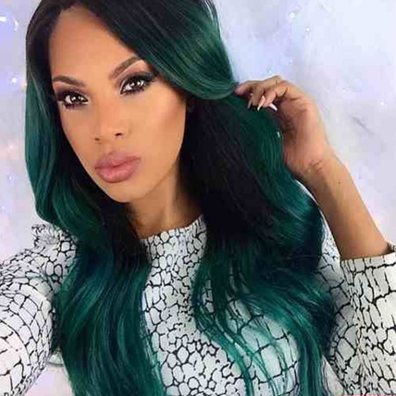 High Quality Ombre Body Wave Synthetic Lace Front Wigs For Black&amp;White Women Popular Black To Green  <br><br>Aliexpress