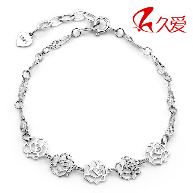 925 pure silver bracelet female rose bracelet silver jewelry rose hand accessories beauty