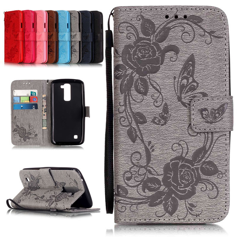 for LG K7 New Design Pressed Rose Flower Painting PU Leather Case For LG K7 Fashion Flip Wallet Stand Cover mobile Phone Cases(China (Mainland))