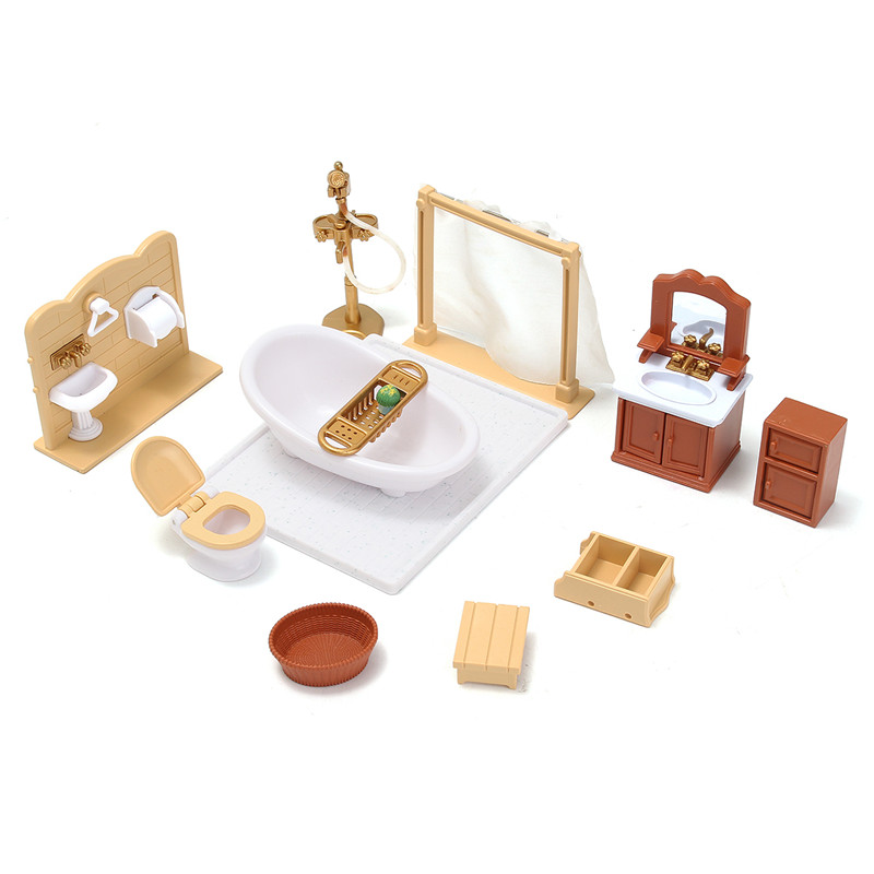 New Miniatures Sofa Bedroom Bathroom Dining Table Furniture Sets For Doll House Craft Toys Acessories Christmas Birthday Gift(China (Mainland))