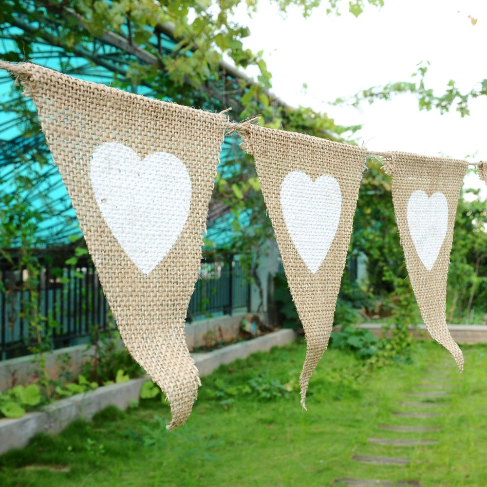13 pcs Festival Party Linen Lace Love Heart Pennant Flag Banner Home Wedding Decoration Church Event Birthday Christmas Supplies(China (Mainland))