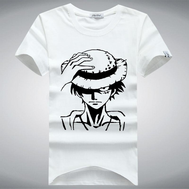 Cheap Fashion T Shirts Men One Piece Luffy Straw Hat Tshirt Cotton Normal O Neck Tops Tee Tshirt Anime T-Shirt Short Sleeve(China (Mainland))