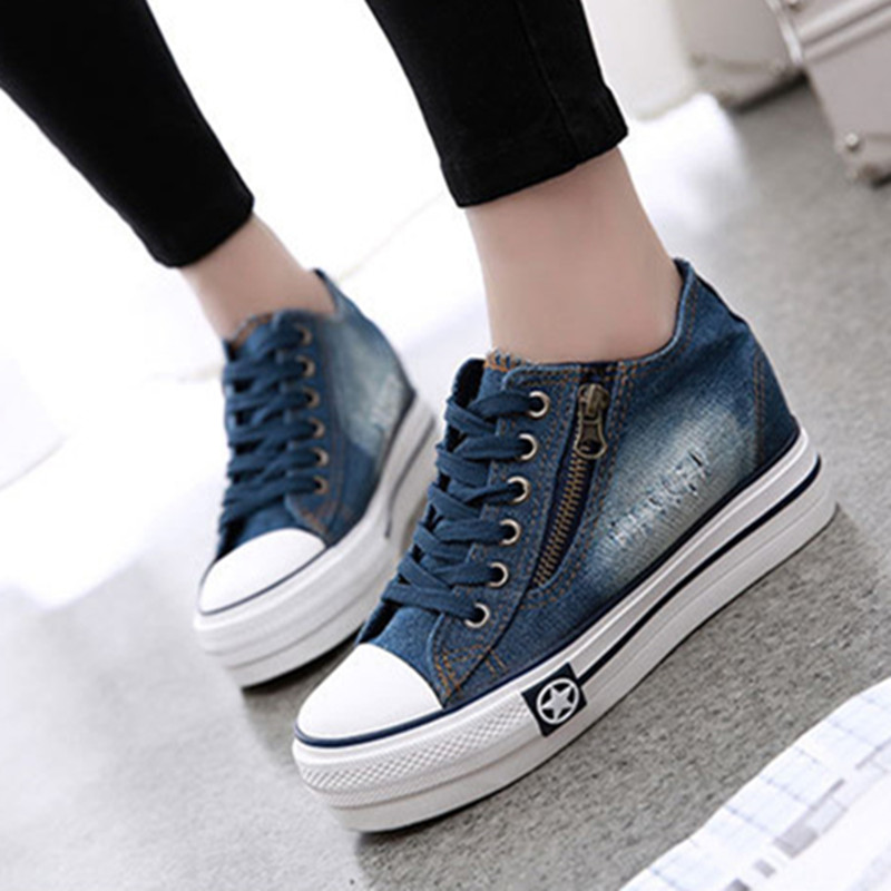 New Arrival Platform Bottom Denim Women Flats Casual Wedge Shoes Higher Fashion Brand Shoes Basic Ladies Flats In China S100(China (Mainland))