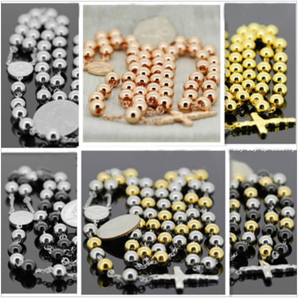 """Seven Style Stainless Steel A Variety Of Colors Rosary Chain Necklace Fashion Religion Jewelry For Men Women (30""""+5.5"""")8mm/106g(China (Mainland))"""