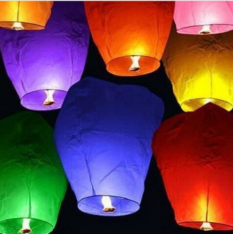 Wholesale Colorful Wedding Balloons Flying Paper Sky Lanterns Chinese Paper Wish Floating Lamps Lights Birthday Party Decoration(China (Mainland))