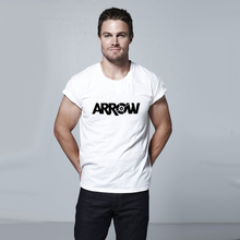 Mens White Black Oliver Green The Arrow Letter Print T Shirt Men Novelty Tshirt Skate Clothing Stephen Amell Parkour Clothes