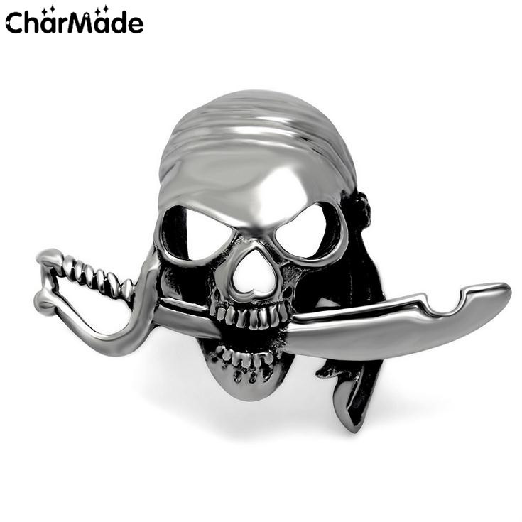 Samurai Sword Ridged Skull Head Military Ring Mens Stainless Steel Biker Jewelry Army Accessory Size 7-12 CharMade R400(China (Mainland))