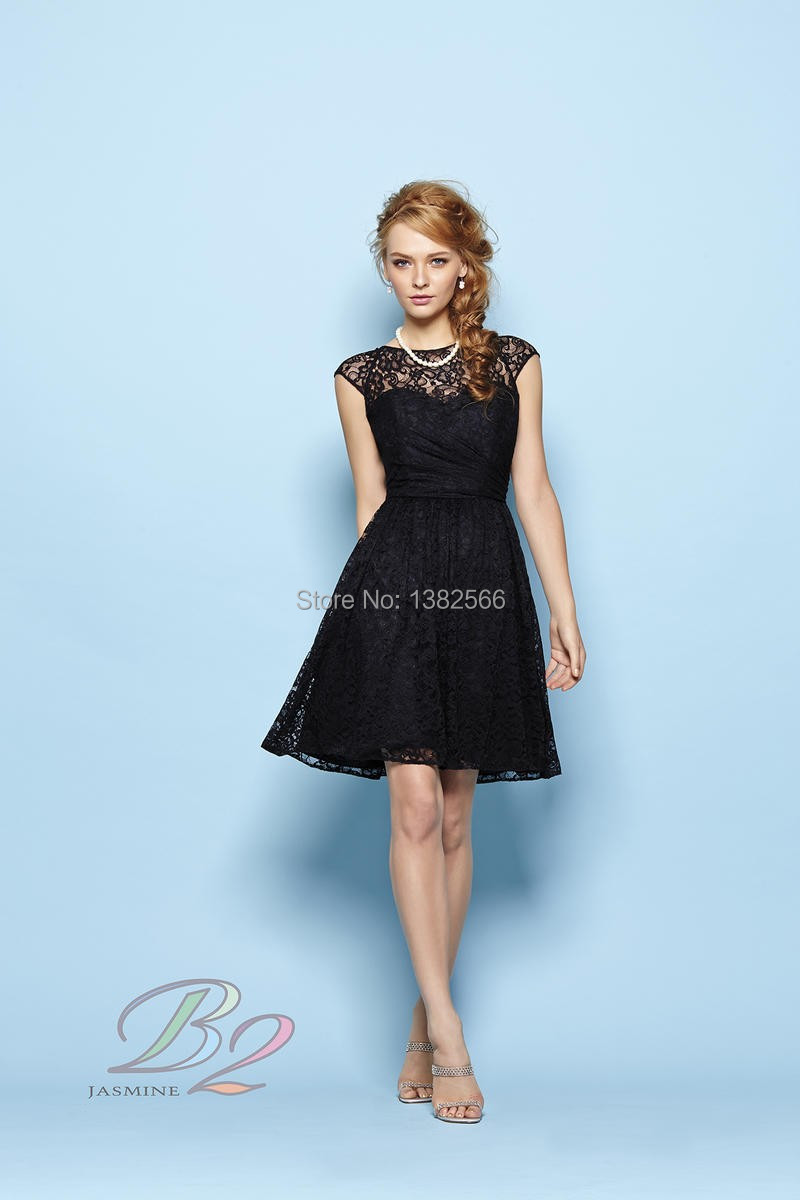 Black Bridesmaid Dresses With Cap Sleeves : New fashion high neck black lace bridesmaid