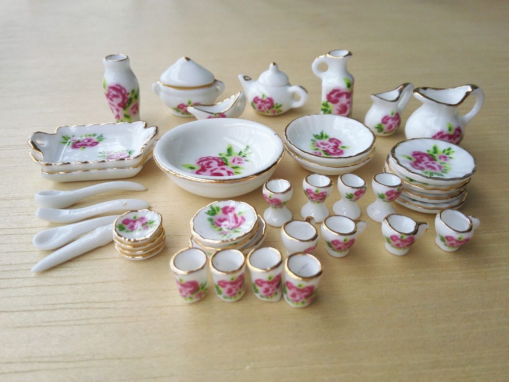 1:12 MINI Dollhouse Miniature kitchen white china ceramic floral tea set tableware 40 pcs(China (Mainland))