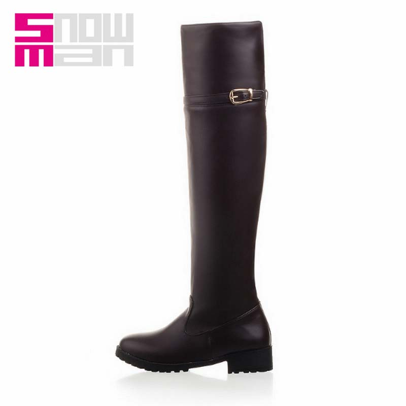 2016 Women Shoes Women Boots Fashion Buckle Strap Over the Knee Boots Lady's Square Low Heels Fall Winter Boots Knight Boots