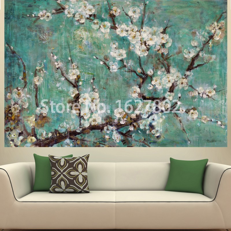Hand painted flowers modern abstract oil paintings on for Art painting for home decoration
