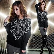 Sexy Women Blouse 2015 Leopard Print Long Sleeve Shirt Women Casual Shirts Blouses Fashion Ladies Loose Tops Black Free Size 24(China (Mainland))