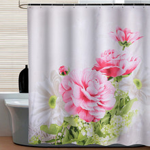 [180&200cm ] Modern waterproof shower curtains bathroom products 100% polyester flower peony bathroom shower curtain(China (Mainland))