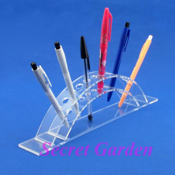 Wholesale High Quality Acrylic Clear View Pen Cosmetic Brush Display Stand Holder For 12 Pcs(China (Mainland))
