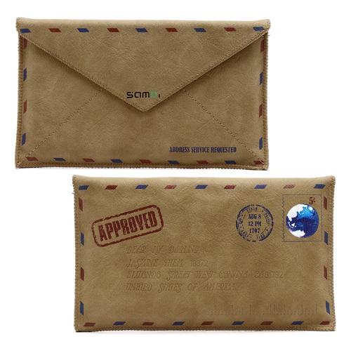 Samdi Retro Enveloppe Pochette Carte Postale Tui En Cuir Pour Iphone 6 Plus 6 S Plus Galaxy