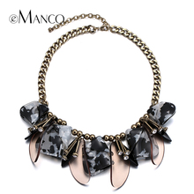 eManco acrylic petal choker necklace metal link chain short rhinestone bib statement necklaces for women bijoux femme NL13622(China (Mainland))