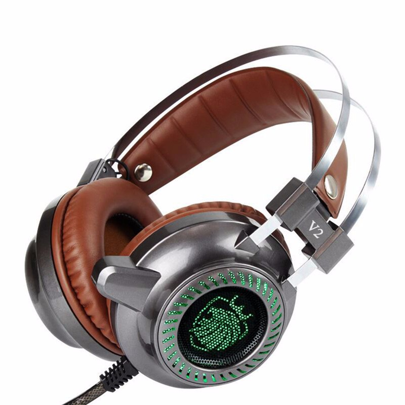 Hot Laptop Peripherals V2 Pro USB Wired Gaming Speakers Headset 3.5mm LED Stereo PC Headphone Microphone Stereo Bass LED Light
