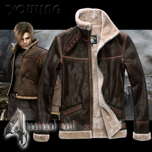 New Resident Evil Leon S Kennedy Cosplay Zipper Jacket Coat Stand Collar Leather(China (Mainland))