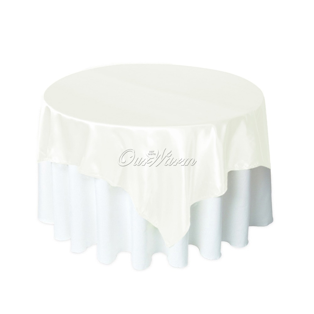 10pcs/lot 145*145 cm Square Satin Table Cloth Pure color Table Cover overlay for Wedding Party Banquet Hotel Home Supply(China (Mainland))