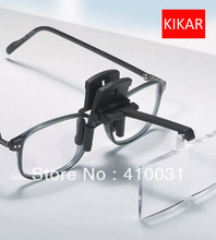 KIKAR Clip on Flip up Glasses 4pc Folding Magnifier Reading Magnifying Hand Free Toys Jeweler Loop and Jewelry Loupe Hat Dental(China (Mainland))