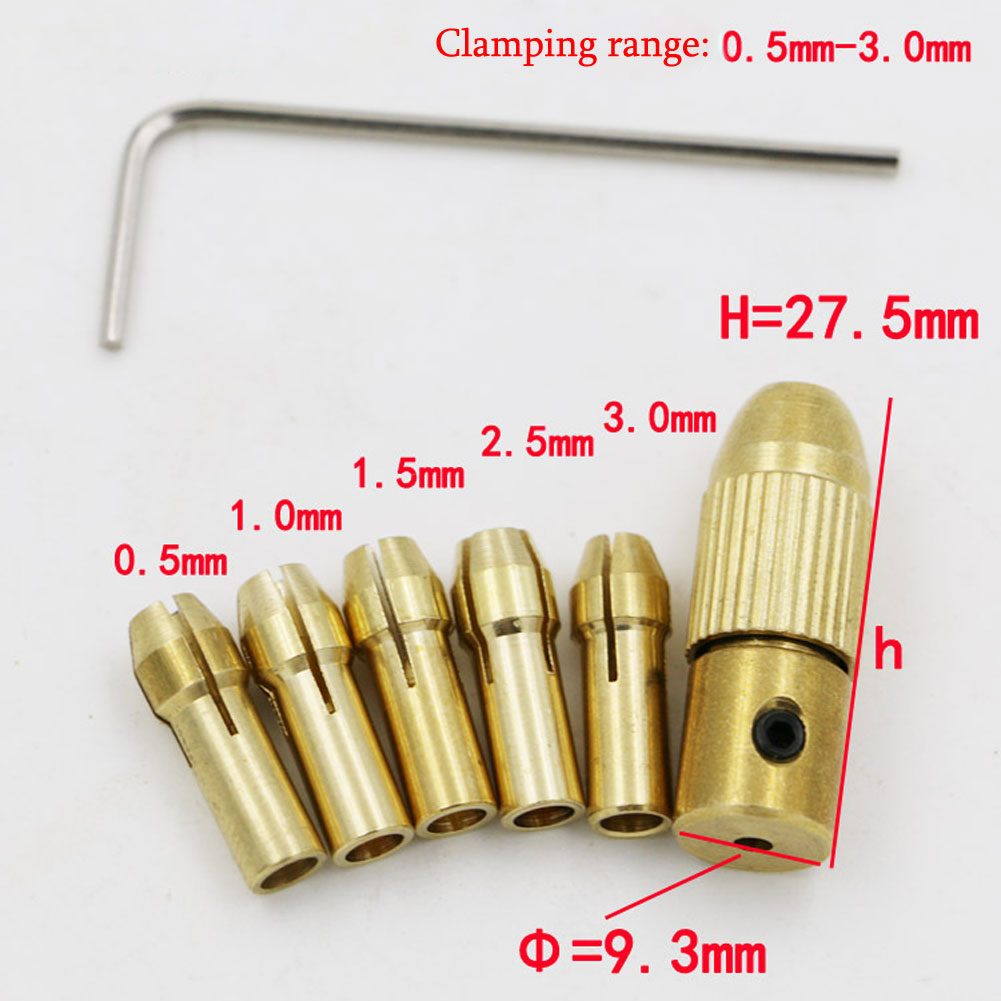 5Pcs Mini Drill Chucks 0.5-3.0mm Fit For Micro Twist Electronic Dremel Drill Collet Clamp Set Power Tool Accessories With Wrench(China (Mainland))