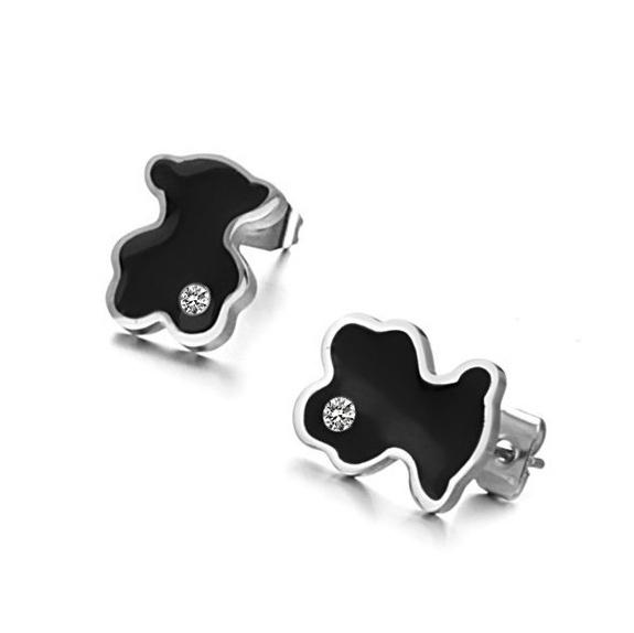 2015 new fashion women little bear earrings black bear zircon titanium steel stud earrings(China (Mainland))