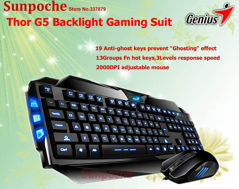 Genius G5 Backlight Gaming Suit K5 Blue Backlit Gamer Keyboard X1 Game Mouse Combo Wired LED illuminated for Dota 2/Computer PC(China (Mainland))