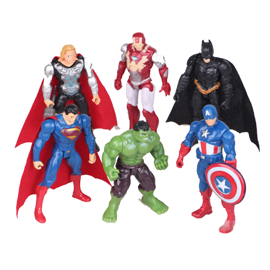 6pcs Superman vs Batman action figuras set 2016 New the avengers Thor with hammer  iron man  Hulk brinquedos Doll Decoration