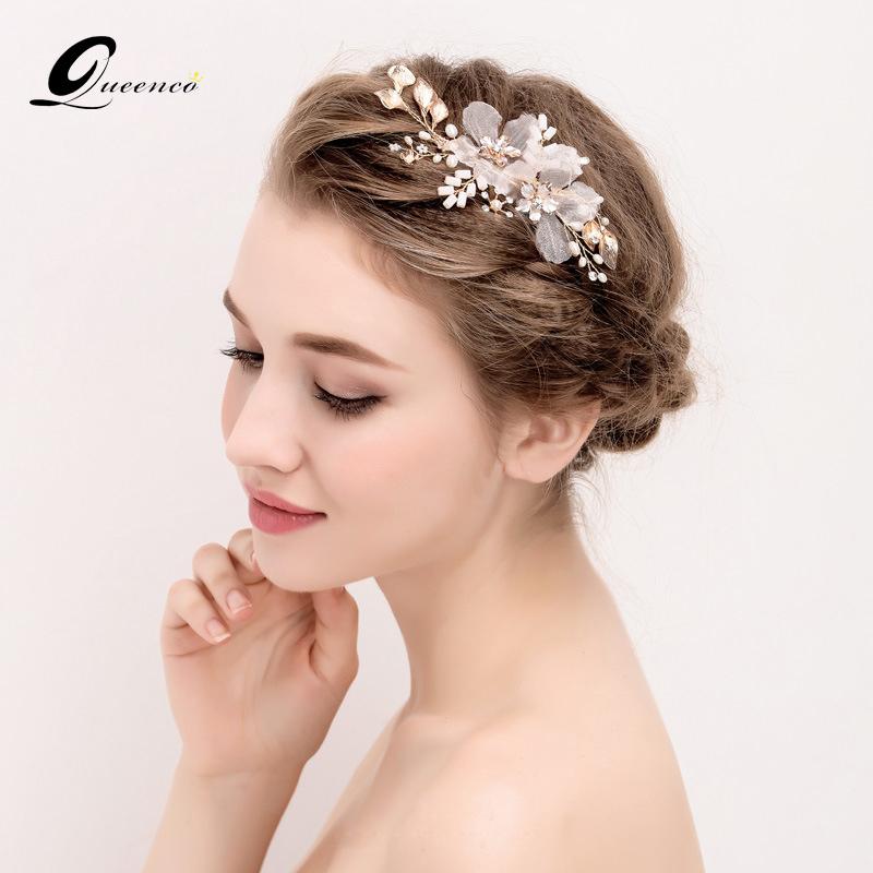 Hair Comb Pearl Wedding Head Accessories Hair Clip Pin Headdress Leaves Bridal Hair Jewelry Handmade Women Diadem(China (Mainland))