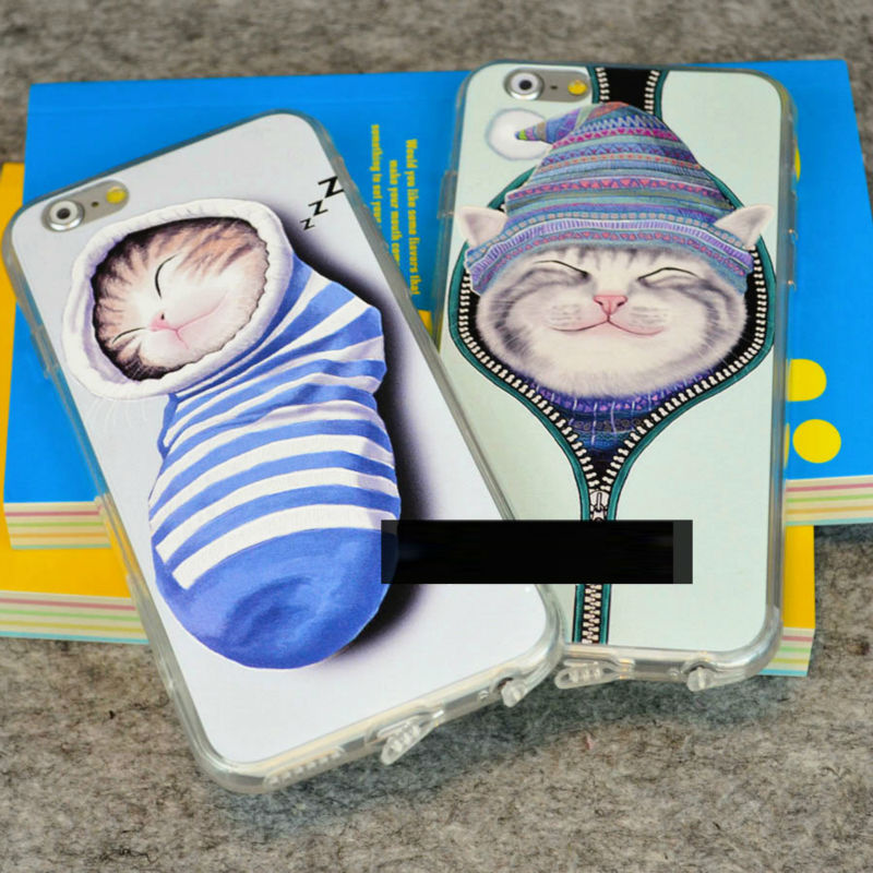 Newest Cute Sleeping Cat Sock soft Silicon back cover free shipping Phone case for iPhone 6 Plus 5.5'' YC565(China (Mainland))
