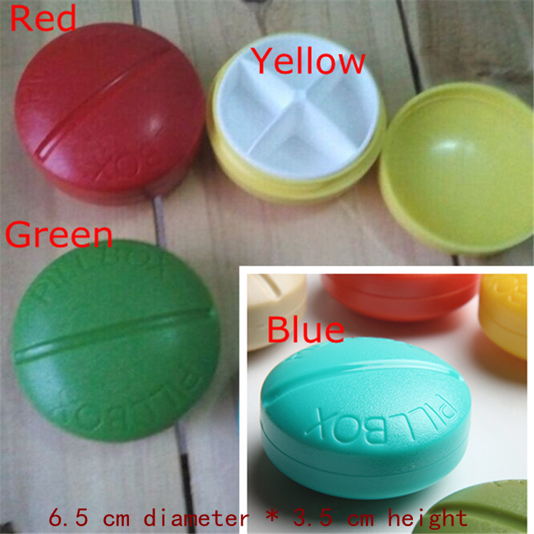 Exclusive 4 Slots Mini travel blue Round cute Pill case for Drugs splitters Medicine box(China (Mainland))