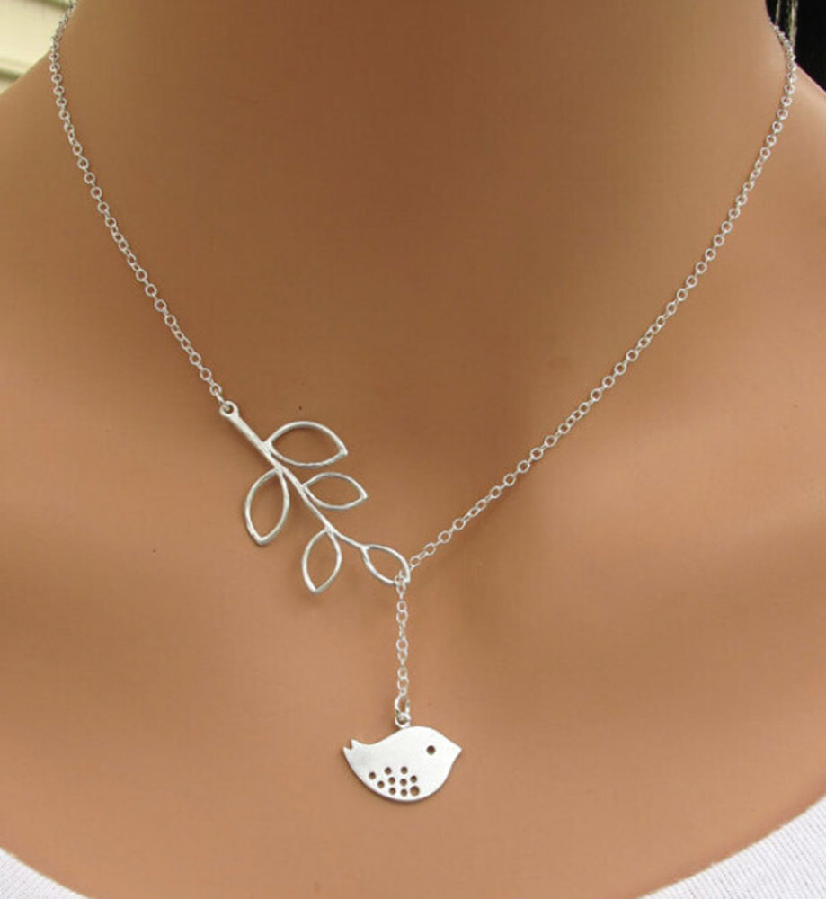 Lovely Bird & Leaf Necklace Silver Branch Tree Leaves Alloy Chain Women Fashion Jewelry Collarbone Accessories - bingo qi's store