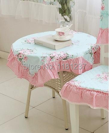 Victoria Blue Rose Tablecloth Cotton Table Cover Ruffle Tablecloth 150*150cm(China (Mainland))