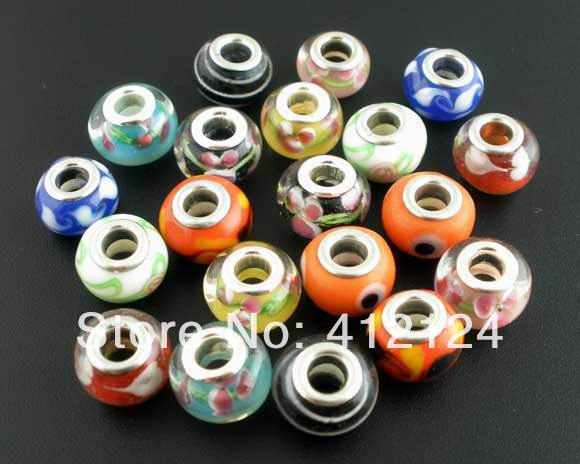 100Pcs Hot New DIY Mixed Glass Lampwork Beads Fit Charm Bracelet Component 14x10mm N272<br><br>Aliexpress