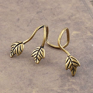 Gothic Jewelry Leaf Ear Cuff Mens Earrings Bronze Free Shipping On US$ 15 Orders(China (Mainland))