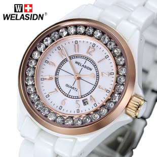 Watch women's watch white ceramic ladies watch fashion table quartz watch waterproof watch