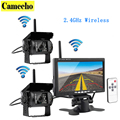 Wireless Vehicle Car 2 Backup Cameras Monitor Ir Night Vision Rear View Camera 7 Monitor for