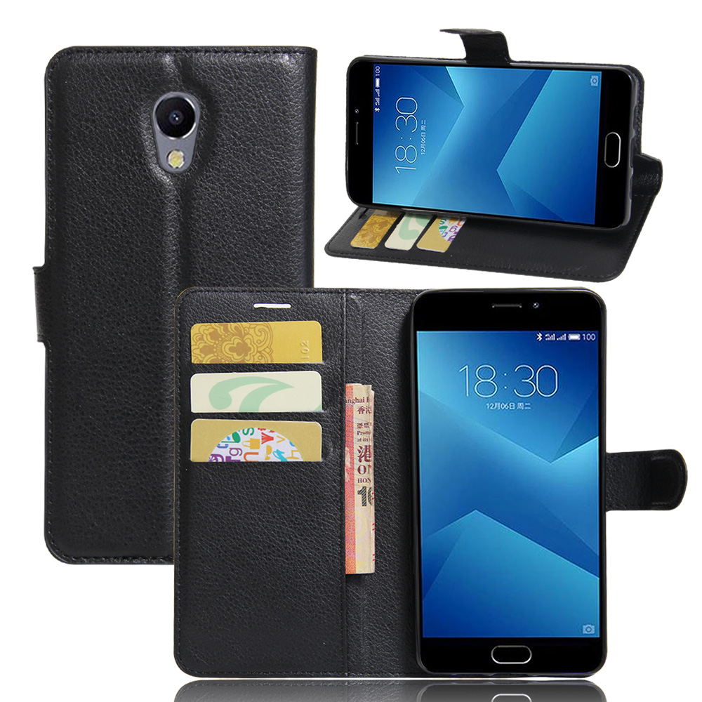 Meizu M5 Note Flip Wallet PU Leather Case 9 Colors Stand Lichee Pattern Cases Cover Card Slots Meizu Blue Charm Note5