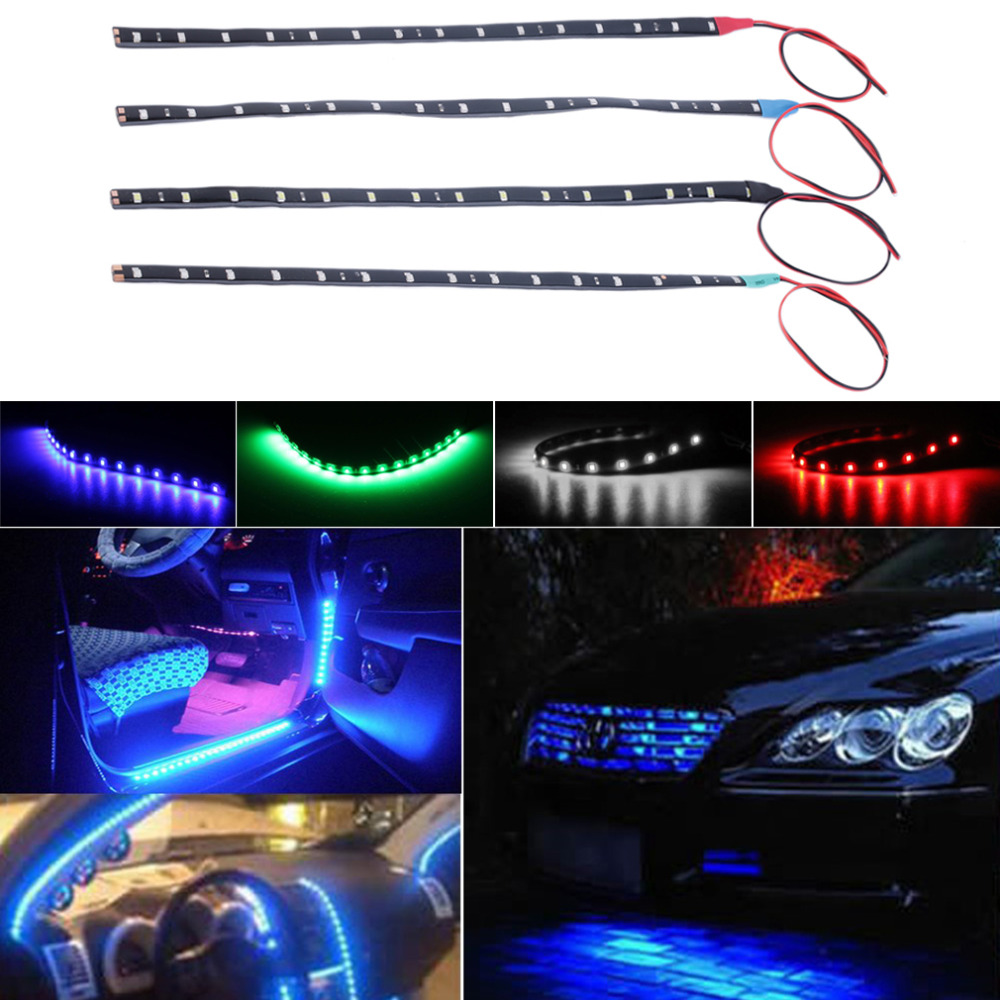 Waterproof 15 LED 30cm Car Styling super white blue red waterproof flexible Car Light Daytime Running Lights DRL Soft Strips(China (Mainland))
