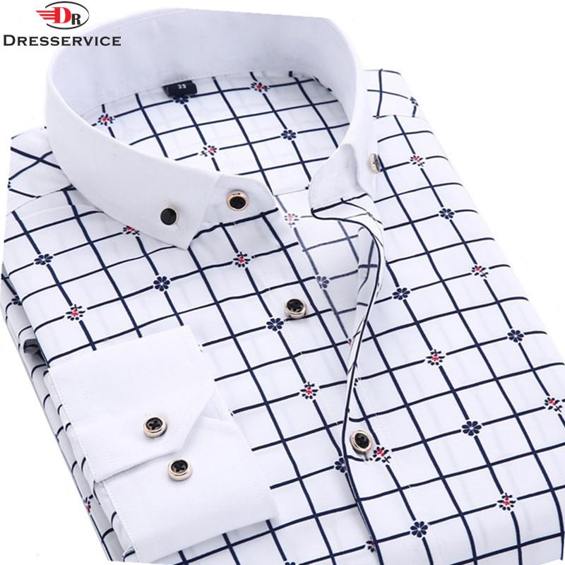 Dresservice 2016 New Men Shirt Long Sleeve Lapel Casual Male Shirt Slim Fit Business Printing Dress Shirts(China (Mainland))