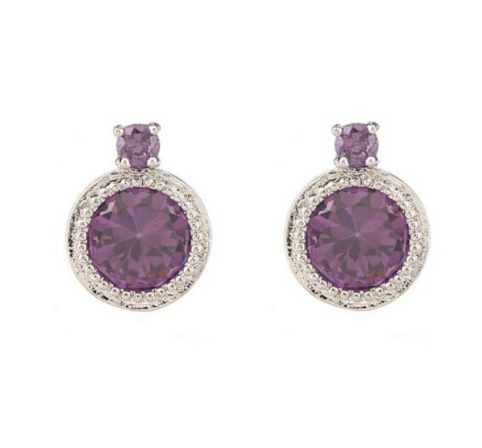 OMH wholesale buy 5pair OFF20% silver purple 18KT white gold Austrian crystals fashion satellite Stud Earrings Free ship EH122(China (Mainland))