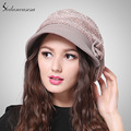 2015 Brand New Spring Fashion English Black Khaki Striped Women Visors With Bow Wholesale Cap WG150160